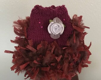 Dog Sweater-Hand Knit-Color is Merlot-Chihuahua Clothes XXS-XS- Small Dog-Puppy