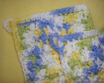 Two Bumpy Cotton Washcloths, handmade crochet washcloth set - blue, green, yellow, and white, Cool Breeze Ombre