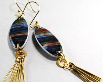 Jeweltone sky fringe earrings, reversible earrings, oval earrings , resin earrings, gifts for her, gifts under 20
