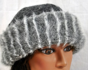 Vintage Wool Winter Ladies Hat with Faux Fur Brim - Charcoal Grey Shades - Made in Italy