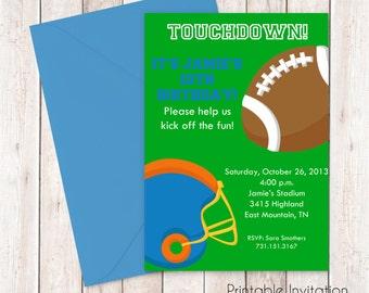 Football Invitation, Printable Invitation Design, Custom Wording, JPEG File