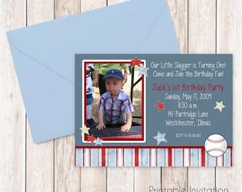 Baseball Invitation, Printable Invitation Design, Custom Wording, JPEG File