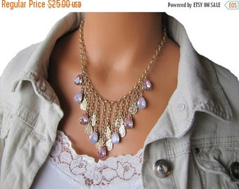 SALE Bib Necklace In Pink Teardrop Jewels Statement Jewelry