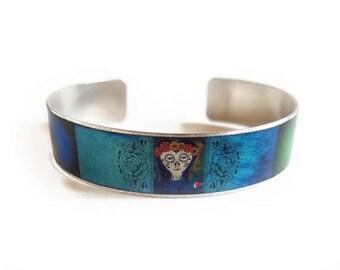 Day of the Dead Dia de los Muertos bat poppy cuff bracelet skinny thin