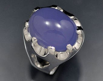 One of a Kind Blue Chalcedony Sterling Silver Ring
