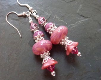 Pink Peach Towers Earrings,  Bright Colorful, Pretty in Pink, Handmade Lampwork  Spring Summer