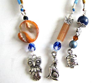 Beaded Bookmarker,  Books and Zines:short for Magazine,Bookmarker,Gold and Blue Cord,Owl, Turtle, Wolf Charms,Book accessories Item 1198