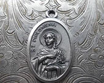 ON SALE St. Philomena Holy Catholic Religious Medal Pendant, Patron Saint Of Babies, Infants, & Youth, Miraculous Necklace Medallion, Made I