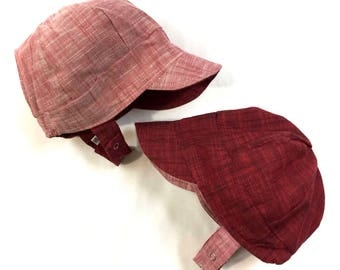 UB2 ROOIBOS a solid, thread-dyed, slug-woven chambray baby BOY newsboy sun hat in dusty red & ruby red, by The Urban Baby Bonnet (all sizes)