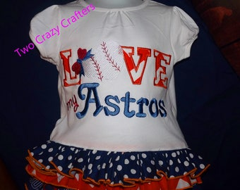 Love My Astros Ruffle T-Shirt Dress, MLB, Houston, Spirit, Mascot, Sports, Baseball