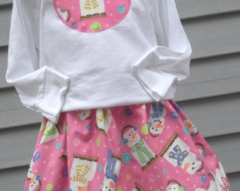 Ready to Ship Custom Boutique Smores Snowman T Shirt Pink School Girl Skirt Size 4 5