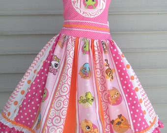 Ready to Ship Custom Boutique Littlest Pet Shop Party Girl LPS Dress Will fit Size 6 or 7