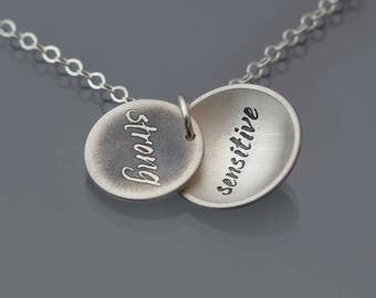 Sterling Silver Strong/Sensitive Necklace, handwritten jewelry, inspirational words, locket-style necklace, etched handwriting pendant