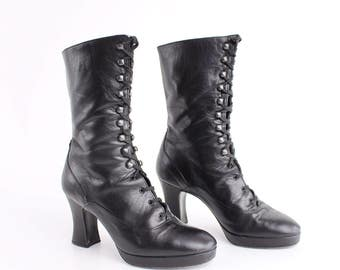 size 6  | Vintage Black Leather Lace Up Boots | Smooth Calf Leather Platform Boots | Made in Italy | 36