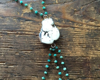 Vintage Rosary Inspired Statement Necklace with chrysoprase stones, Gifts under 60, Gifts for Her, valentines day gift, sterling silver