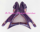 RESERVED 40s Purple Snakeskin Peep-Toe Slingback Pumps with Bows 8M