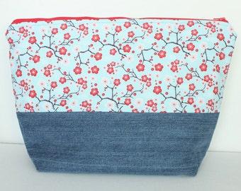 SALE Large Zipper Pouch, Sweater Knitting Bag, Cherry Blossom & Denim