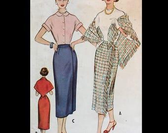 Vintage 50s Asymmetrical Seam Slim Fringed Skirt Lined Shawl Sewing Pattern W26 9480