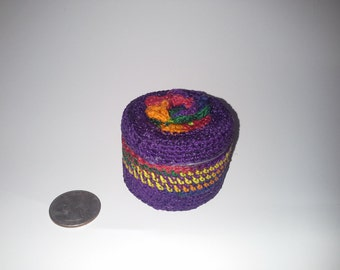 Stash Tin Covered in Purple and Rainbow  Crochet,  2oz.