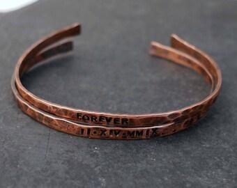 Copper Bracelet Set, Roman Numeral, 7th Anniversary Gift, Hammered Copper Cuffs, Copper Anniversary, Forever