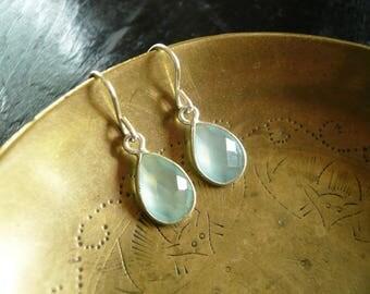 Tiny Chalcedony Earrings in Silver - Tear Drop Green Chalcedony Gemstone and Silver Drop Earrings, Sterling Silver Chalcedony Earrings