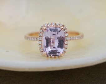 Rose gold sapphire ring. 2.2ct Lavender Blue sapphire diamond ring 14k rose gold cushion engagement ring