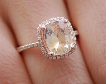 Apricot Peach Champagne Sapphire Ring 14k Rose Gold Diamond Engagement Ring 2.56ct Cushion sapphire ring by Eidelprecious