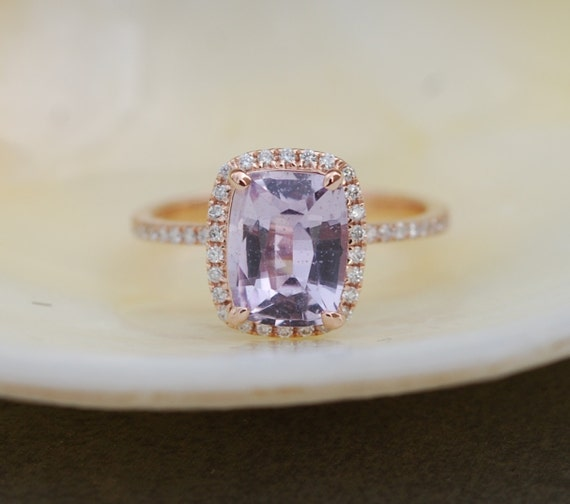 Rose gold sapphire ring. 1.88ct Lavender Blue sapphire diamond ring 14k rose gold cushion engagement ring
