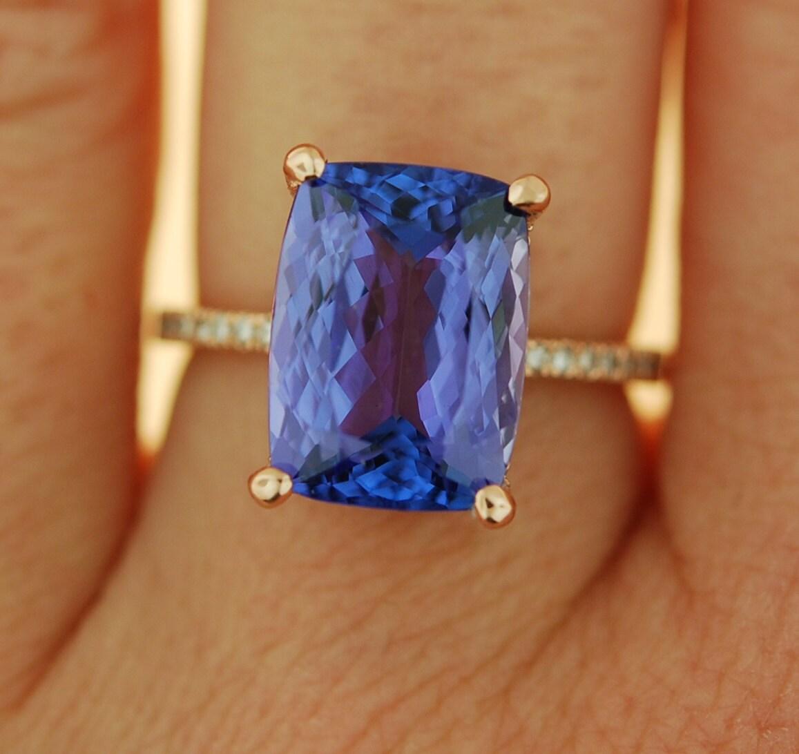 Lavender Tanzanite: Tanzanite Ring. Rose Gold Engagement Ring GIA Certified