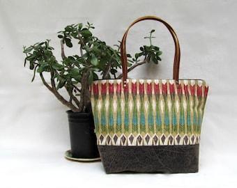 SARA D. SHOULDER BAG // Large Zippered Handbag //  Tribal Design Purse // Cotton + Faux Leather // Aqua