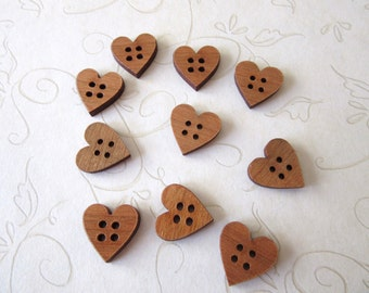 Wood Heart Buttons, Wood Buttons, Wooden Buttons, Craft Buttons, Sewing Buttons, Scrapbooking Buttons, Cherry Wood Buttons, 4 Hole Buttons