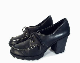 90's vintage lace-up OXFORD shoes // platform chunky heel shoes // lug-sole shoes off-black size 7