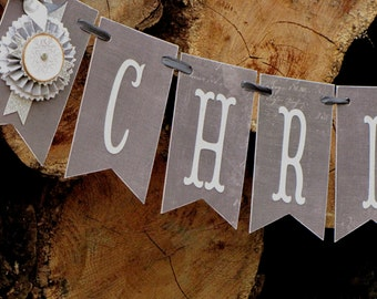 Vintage Christmas  Inspired CHRISTMAS Banner Garland Victorian Paper Rosettes Cream White Grey Silver