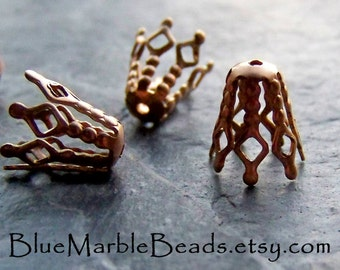 Reserved for Toni, Filigree Bead Caps, Brass Bead Caps, Bead Cones, Bendable, Brass Finding, Vintage Finding, 20 Pieces