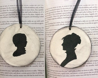 Austen Style Silhouette Ornament - Lady and Child - Christmas Holidays Shabby Chic - Mother and Baby