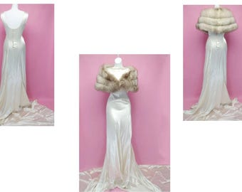 Vintage | 30s 40s 50s Hollywood Glamour Satin Wedding Dress Gown