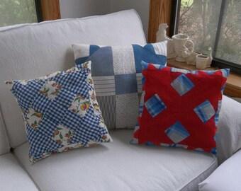 3 Vintage Quilt Pillows P;rimitive Antiques Handmade Primitive Pillows Pieced Quilt Squares Set of 3