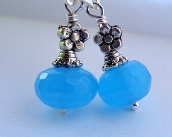 Blue Earrings,Chacedony Earrings, Dangle Earrings, Blue Stone Earrings, Lever Back Earrings