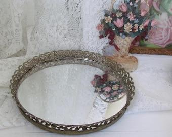 "Vintage Petite 10"" Round Vanity Mirror Art Deco Brass Filigree Hollywood Regency Boudoir Chic"