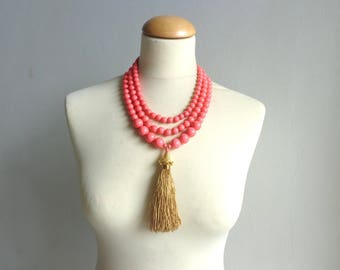 coral tassel statement necklace, coral gold necklace