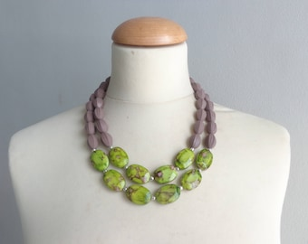 chunky brown Green necklace double strand