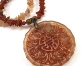 50% OFF SALE Carved jade Chinese medallion necklace with amber chip beads and tiger's eye accents