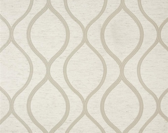 Ivory and Oatmeal Geometric Drapery Panels - Pair/ 2 Panels - Eroica Lancaster Jacquard Sand Fabric