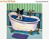 30% off Boston Terrier Taking a Bath Dog Art Tile