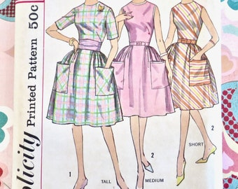 Vintage 1960s Womens Dress Pattern - Simplicity 4336 - Full Skirt - Uncut FF - Size 16 bust 36