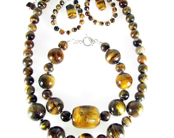 Tigereye Necklace, Bracelet & Earrings Set, Genuine Tiger Eye Jewelry Set, Gemstone Jewelry Set