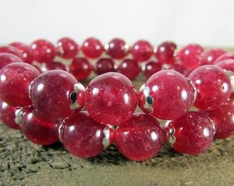 Ruby Quartz Bracelet Set, Stretch Bracelets, Ruby Red Bracelet, Healing Gemstone Stretch Bracelet