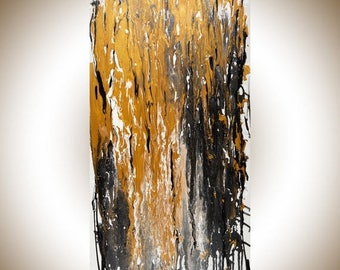 """Black white gold large painting Original Abstract art wall decor wall hanging painting on canvas acrylic """"Paratroopers"""" by QiQiGallery"""