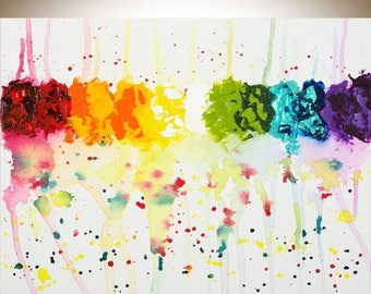 """Abstract painting rainbow color abstract painting on canvas wall art wall decor home decor """"April Shower"""" by qiqigallery"""