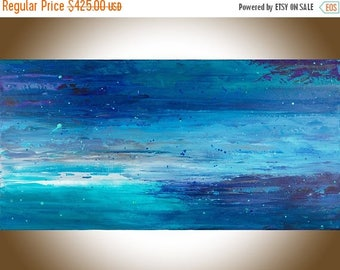 Abstract art abstract painting original landscape painting on canvas wall art wall decor wall hanging blue turquoise purple white by qiqi